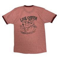 """70's TOWNCRAFT """"CATFISH"""" MUSICIAN Tee SHIRTS with HAND PRINTING LIKE HAND PAINTING"""
