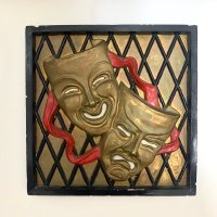 50's TWO FACES WALL CLAY ART