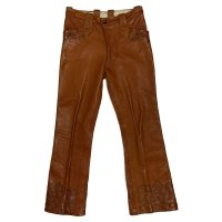 70's HAND CRAFT HIPPIE LEATHER PANTS